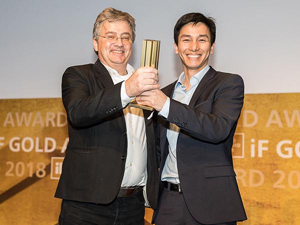 Timothy and Frank Wu at iF Gold Award show Hanover 2018