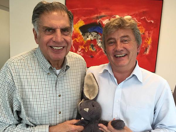 Ratan Tata of Tata Motors, Ninus and Timothy Jacob Jensen in India
