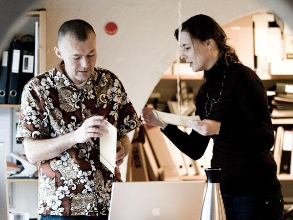 Nigel Hopwood and Fabienne working in the studio Denmark Hejlskov