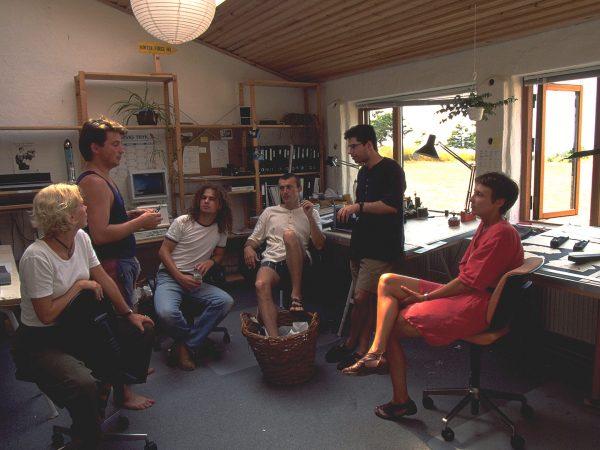 Creative team meeting back in the 1990's Timothy Jacob Jensen studio Hejlskov Denmark