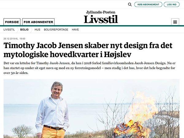 Timothy Jacob Jensen featured in Jyllands posten Danish newspaper December 28 2019 issue
